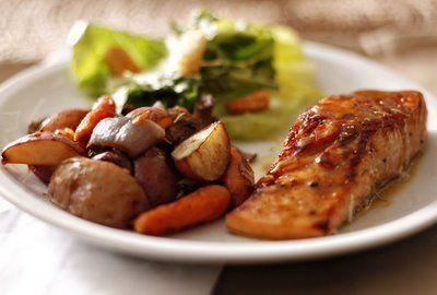 ... Bake-aholic: Brown Sugar Mustard Glazed Salmon with Cowboy Potatoes