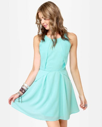 Lulus // More, More, More-igami Light Blue Dress