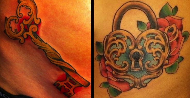 key and heart tattoo