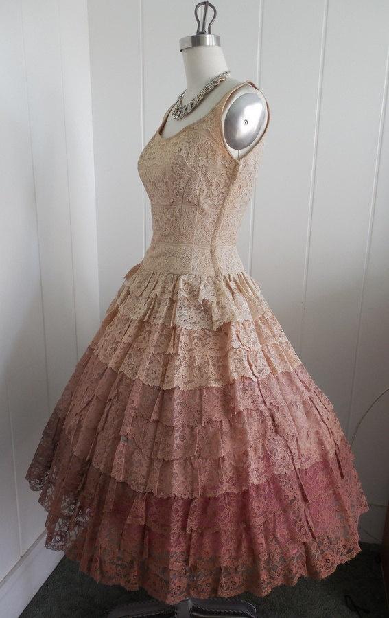 1950s vintage prom dresses for Vintage rose wedding dress