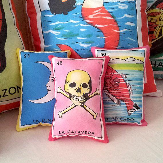 La Calavera Skull Mexican Loteria Mini Pillow via Etsy.com #SupaSistaLatina #Latina #SupaDaily #ToDieFor