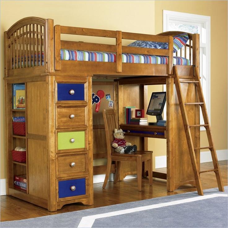 ... Pulaski Build-A-Bear Bearrific Kids Wood Loft Bunk Bed in Cocoa Finish