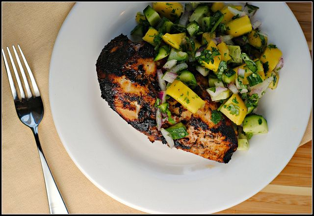 Jamaican jerk chicken with mango salsa | Poultry Recipes ...
