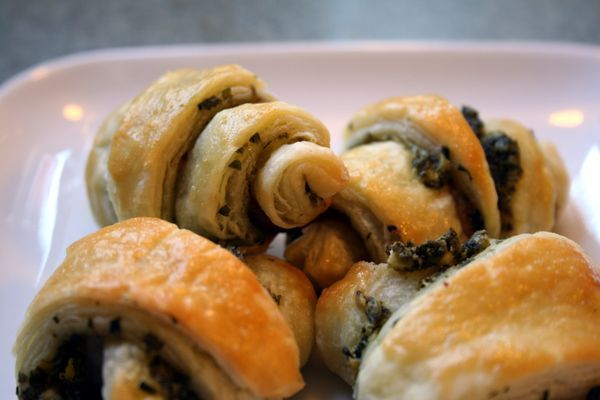 Savory Rugelach! Pastry filled with pesto, goat cheese and ham!