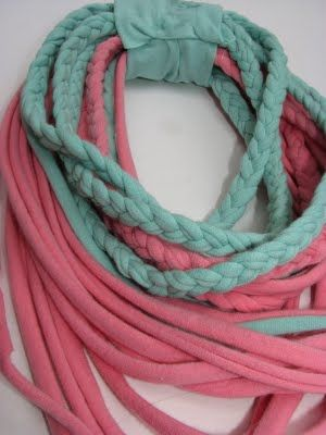 No sew, braided t-shirt scarf necklaces. | DIU | Pinterest