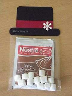 Snowman Hat Hot Chocolate gifty idea. These are SO cute! These would be ADORABLE to put in Christmas goodie bags for school friends. Cute, Cute, Cute!