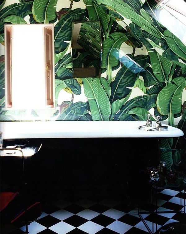 Bathrooms DecorBanana Leaf Wallpaper Bathroom