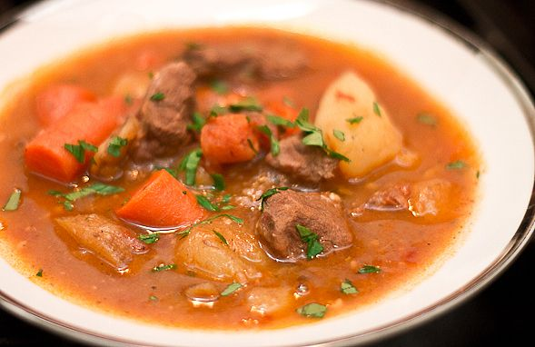 Beef Stew Slow-Cooked in Beer, Carrots and Potatoes