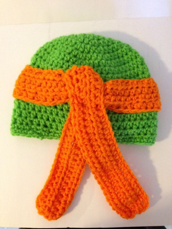 Crochet Ninja Turtle : Ninja Turtle Crochet Hat Pattern by grammabeans on Etsy
