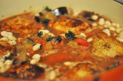 Italian Chicken Stew with Cannellini Beans, Kale, and Eggplant