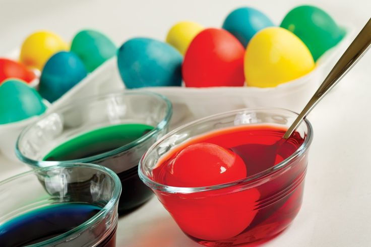 Egg dyeing recipe: Mix 1 tsp vinegar & 20+ drops of food coloring with ...