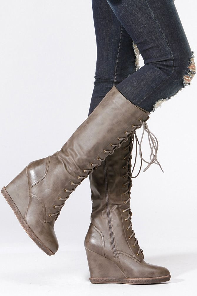 qupid calf length wedge boots spinach other cool