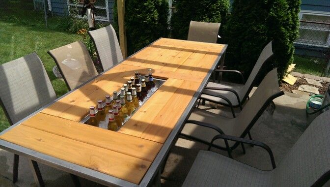 Diy patio table with built in coolers 2017 2018 best for Patio table with built in cooler