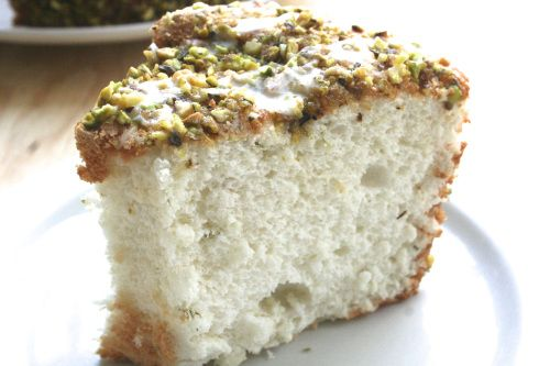 Lime Angel Food Cake with Lime Glaze and Pistachios - Light and ...