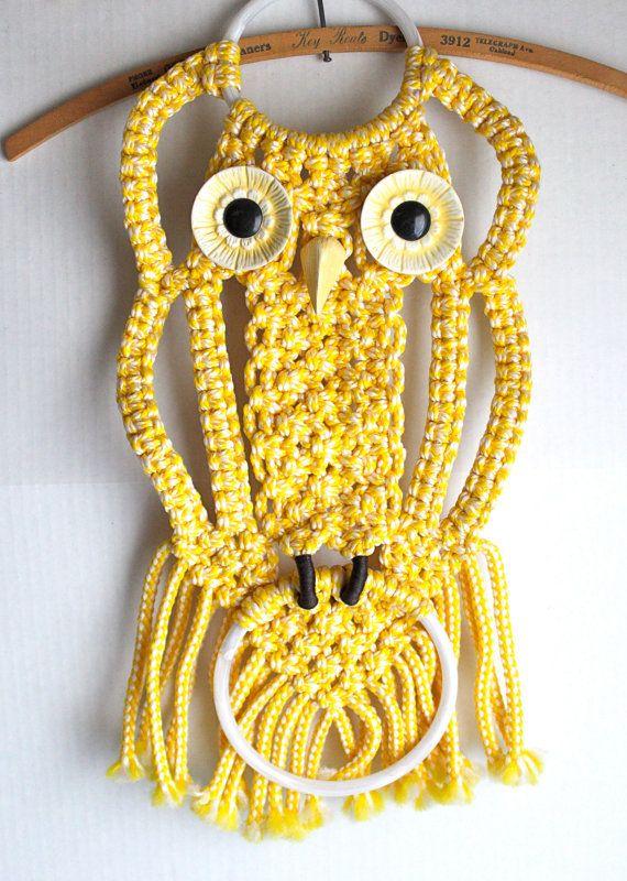 vintage macrame OWL towel rack // yellow wall