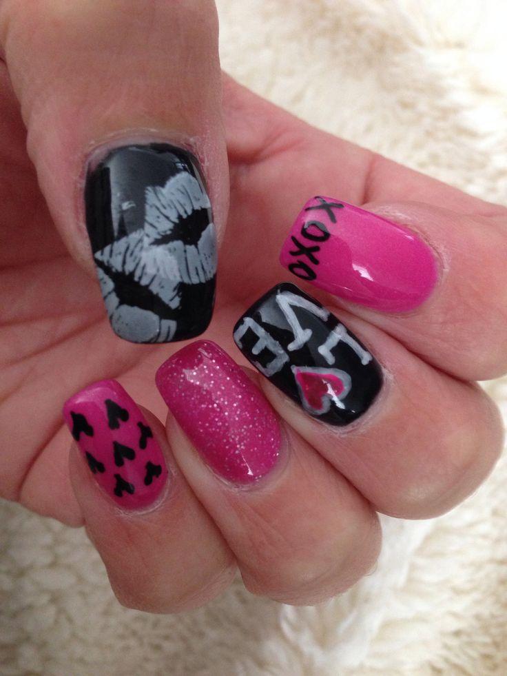 pink valentine nail art