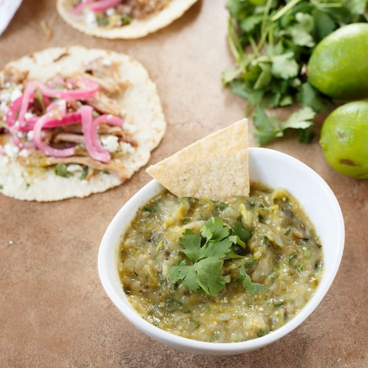 Roasted Tomatillo Salsa. A bright and tangy salsa verde recipe thats a ...