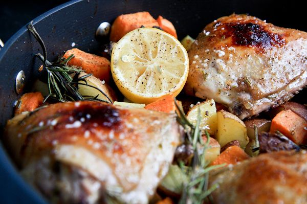 rosemary citrus chicken with fall vegetables