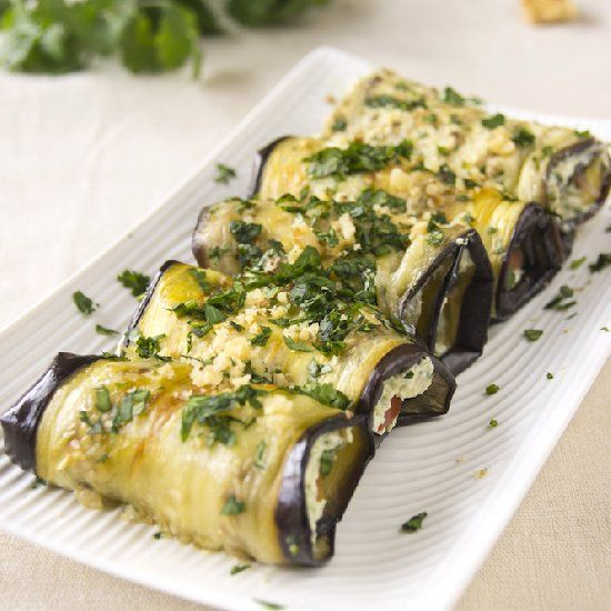 Eggplant Rolls with Cream Cheese, Walnuts and Cilantro - perfect ...