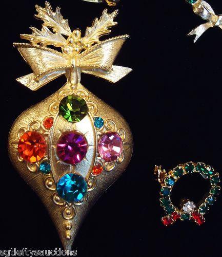 Vintage 13 piece lot dodds gerrys avon christmas pins bracelet button
