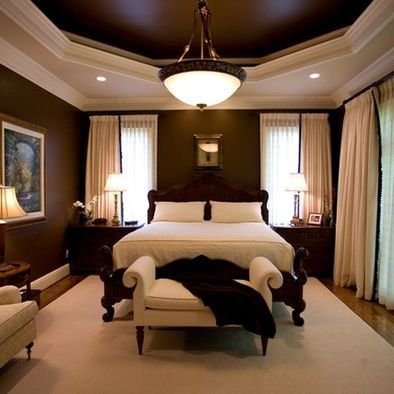 Tray ceiling love dark brown cream houses rooms garden Master bedroom ceiling colors