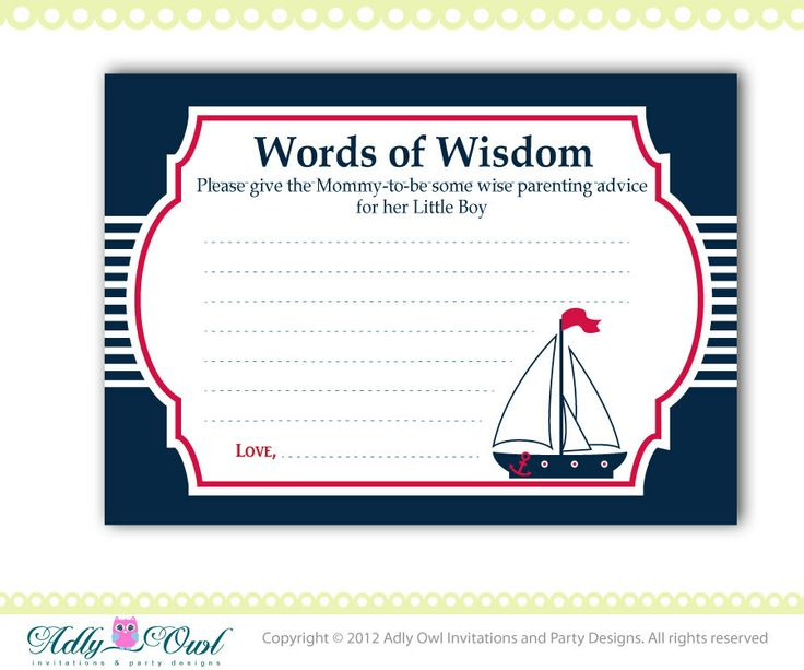 words of wisdom nautical baby shower by adlyowlinvitations on etsy 5