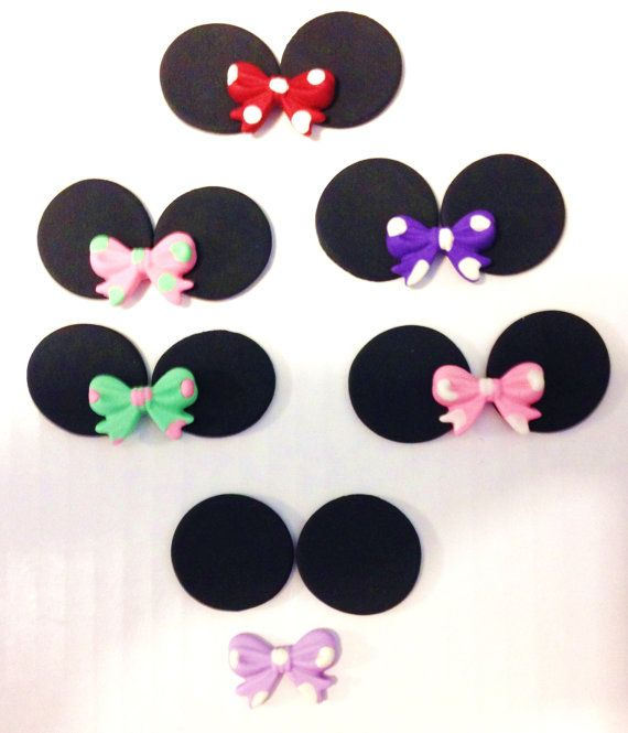 Qty 12 This is 2 Minnie Mouse ears to stand up on cupcake frosting ...