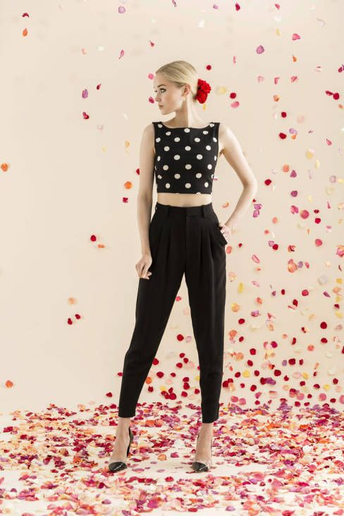 Alice & Olivia Resort runway 2014: vintage-style polka dot midriff top and high-waisted black pants