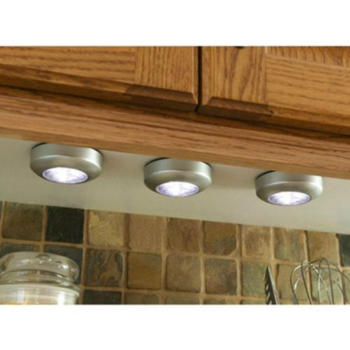 3pk battery powered led tap light wireless under cabinet - Battery operated kitchen cabinet lights ...