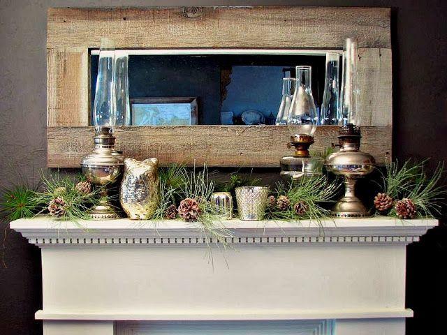 Rustic christmas mantel decor photograph