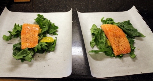 Orange Salmon and Spinach in Parchment - so easy!