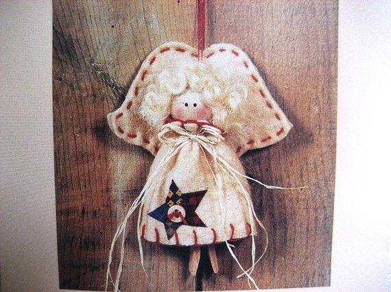 Fabric Ornaments Patterns : Pattern Angel Ornament Fabric Wood Ornament