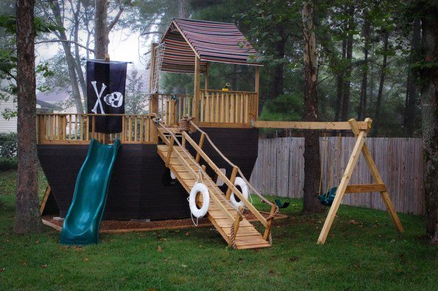 Would love this for my kids my kids - Pirate ship wooden playground ...