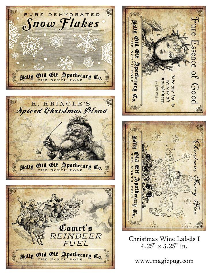 Antique Christmas Potion Wine Labels 4.25 x 3.25 digital collage sheet ...