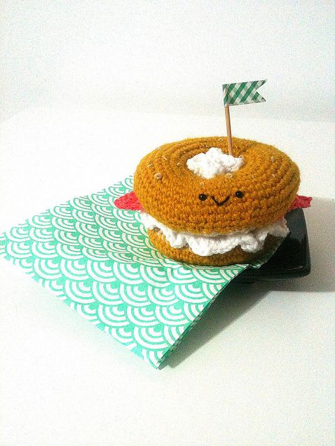 "New! ""amigurumi bagel with cream cheese and salmon"" made and shared by Ohioja. http://wp.me/pjlln-2sS #KnitHacker #amigurumi #crochet"