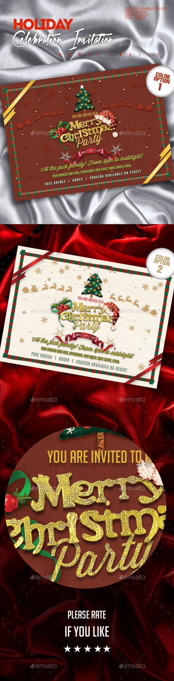 Luxury Retro Christmas Party Invitations Image