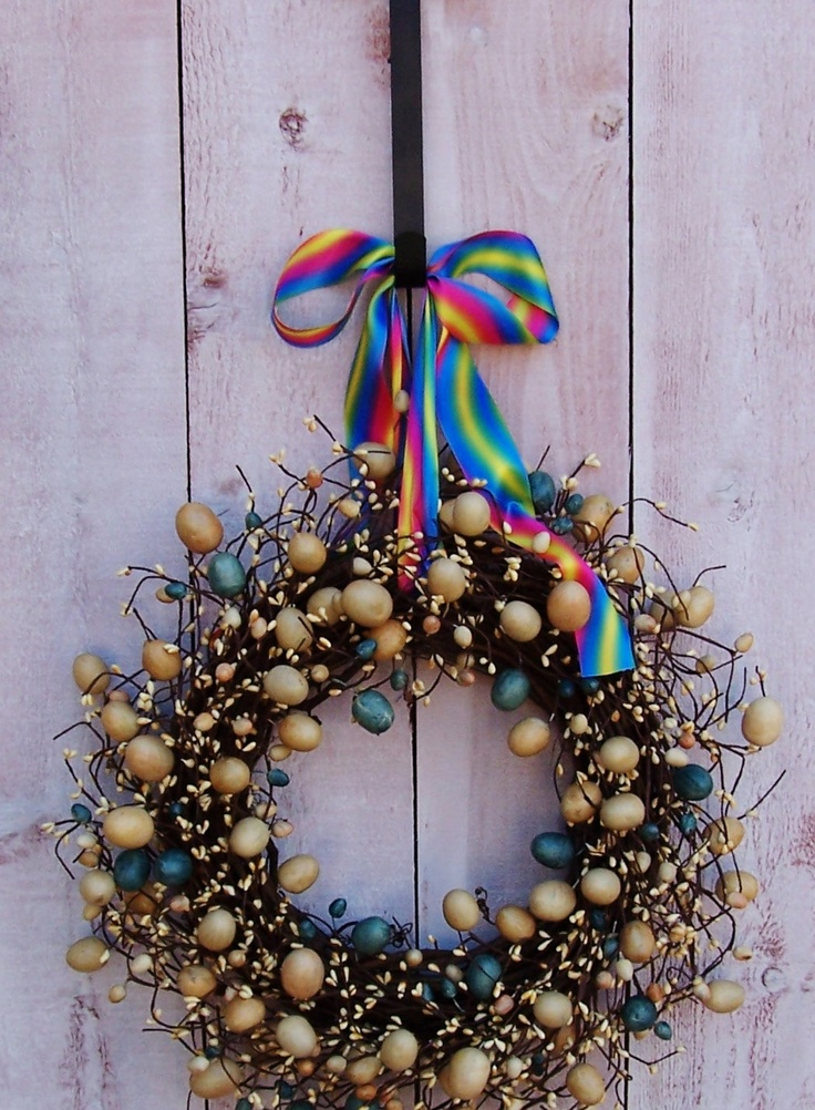 Easter Wreath Spring Wreath Rustic Rainbow Easter Egg