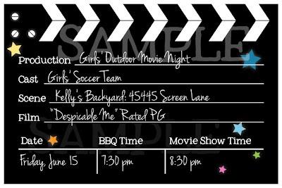 Customized movie night invitations to print as 4x6 photos
