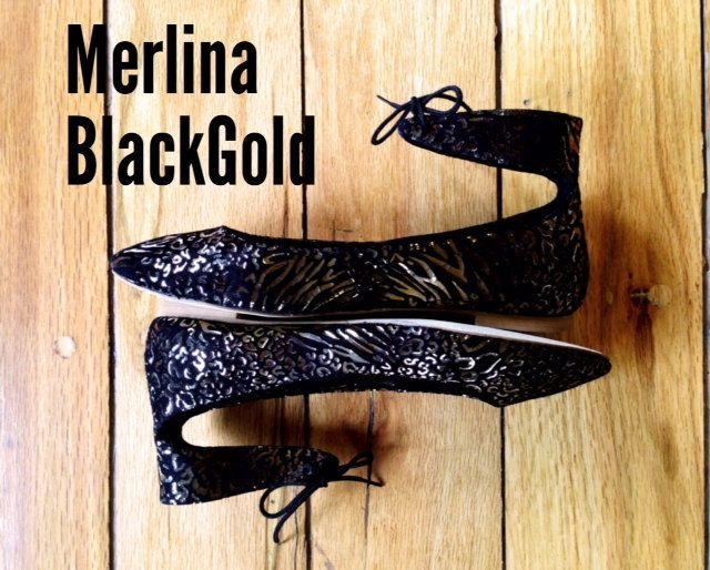 Mina Shoes Balerina Merlina BlackGold 100 Piel gamuza por MinaShoes