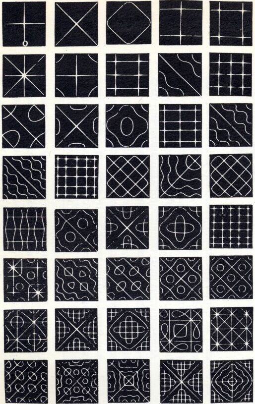 Chladni patterns published by John Tyndall in 1869.