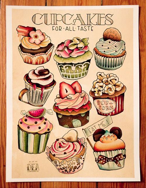 classic cupcake tattoos