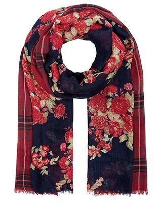 Half And Half Floral & Check Stole