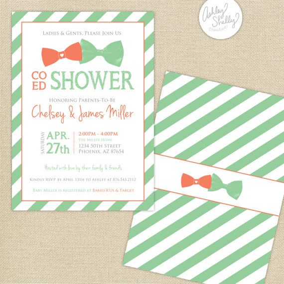 co ed baby shower bows and stripes invitation coral mint coed