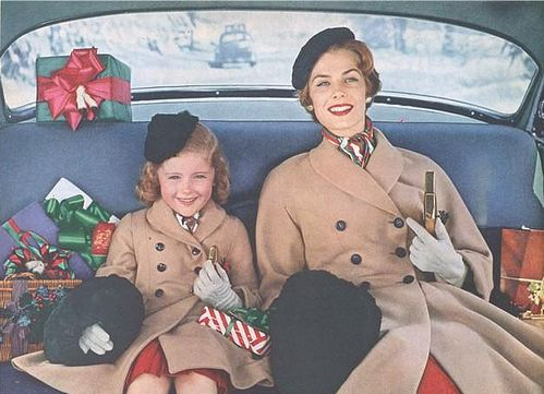 Holiday Shopping, riding in the backseat of the car - c. 1952