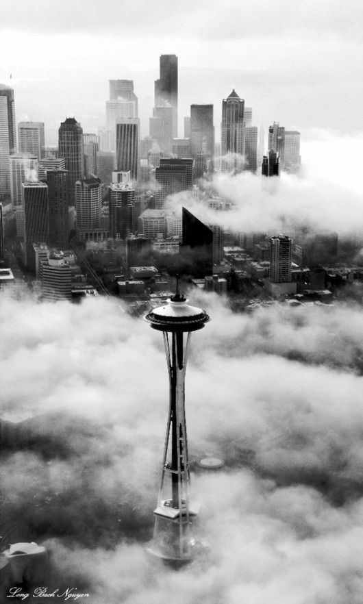 'Low Hanging Clouds - Beautiful!! Space Needle - Seattle, Washington.' I worked in the Washington Mutual Tower for nearly 5 yrs. (In the back on the right with the little square on top of the triangle bldg.)