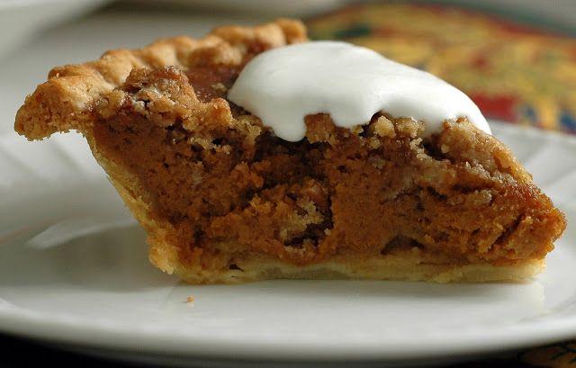 Caramel Pumpkin Pie with Pecan Streusel -
