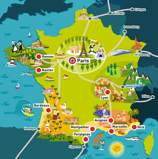 TGV - Bullet train network Map of France.
