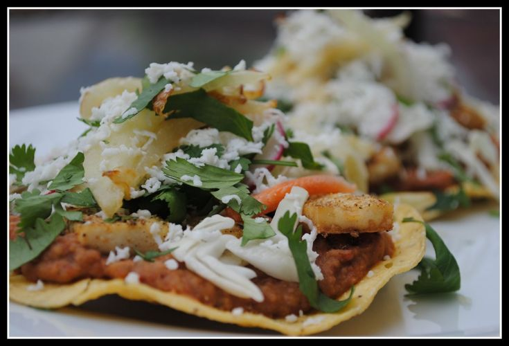 Coriander Tofu Tostadas with Refried Beans and Fennel