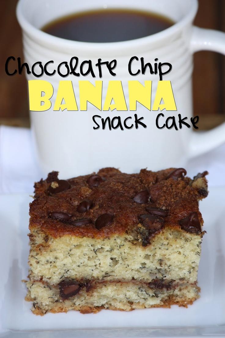 chocolate chip banana snack cake | Good Eats | Pinterest
