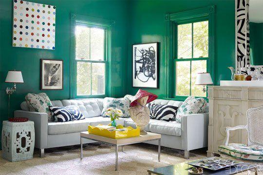 Paint Color Portfolio Emerald Green Living Rooms